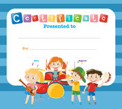 Certificate template with kids in the band