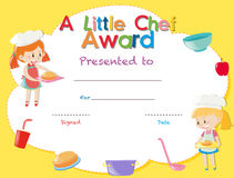 Certificate template with kids cooking