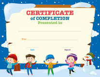 Certificate template with kids in the snow Stock Image