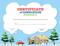 Certificate template with kids in winter Royalty Free Stock Photography