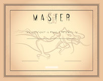 Certificate template Master of martial arts with chinese dragon Royalty Free Stock Photo
