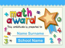 Certificate template for math award with golden star. Illustration Royalty Free Stock Photos