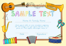 Certificate template with musical instruments Royalty Free Stock Photo