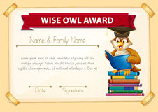 Certificate template with owl reading books. Illustration Royalty Free Stock Image