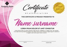 Certificate template with polygonal style and modern pattern vector illustration. Certificate template with polygonal style and modern pattern vector for royalty free illustration