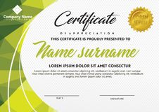 Certificate template with polygonal style and modern pattern vector illustration. Certificate template with polygonal style and modern pattern vector for stock illustration