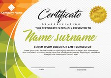 Certificate template with polygonal style and modern pattern vector illustration. Certificate template with polygonal style and modern pattern vector for vector illustration