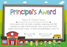 Certificate template for principal award