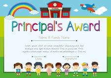 Certificate template for principal`s award Stock Photo
