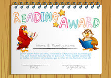Reading award certificate template with bird reading book stock certificate template for reading award royalty free stock images yelopaper Choice Image