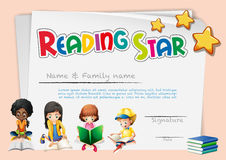 Certificate template for reading star Royalty Free Stock Photos