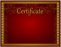 Certificate template. In red gold colors Stock Photography