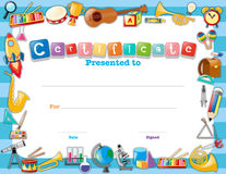 Certificate template with school items stock illustration