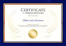 Certificate template in sport theme with blue border frame, Dipl. Oma design stock illustration