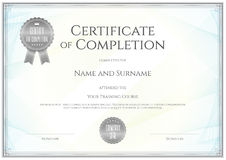 Certificate template in vector for achievement graduation comple Royalty Free Stock Photos
