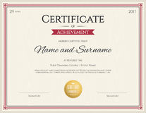 Certificate template in vector for achievement graduation Royalty Free Stock Image