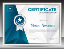 Certificate template. Vector illustration, diploma layout in a4 size, business flyer design, advertisement, printing, achievement, Appreciation, corporate event Stock Images