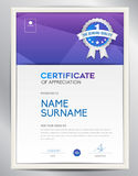 Certificate template vector illustration, diploma layout in a4 Royalty Free Stock Image