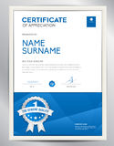 Certificate template vector illustration, diploma layout in a4 Royalty Free Stock Photography