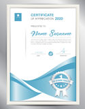 Certificate template vector illustration, diploma layout in a4. Size, business flyer design, advertisement, printing, achievement, Appreciation, corporate event Royalty Free Stock Images