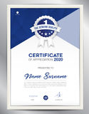 Certificate template vector illustration, vetical page layout Stock Image