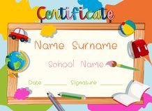 Certificate template with wooden frame Stock Images