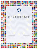 Certificate template with world flags as border Royalty Free Stock Photo