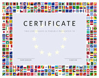 Certificate template with world flags as border in vector Royalty Free Stock Photos