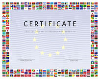 Certificate template with world flags icons as border Stock Image