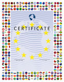 Certificate template with world flags icons as border Stock Photography