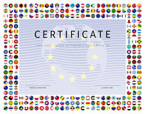 Certificate template with world flags icons as border Stock Photo