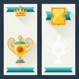 Certificate templates with awards in flat design Royalty Free Stock Photo