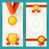 Certificate templates with awards in flat design Stock Images
