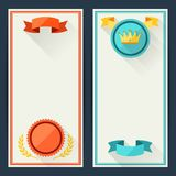 Certificate templates with trophies and awards Stock Images