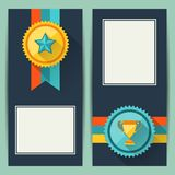 Certificate templates with trophies and awards Stock Image