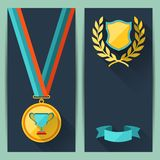 Certificate templates with trophies and awards Stock Photos
