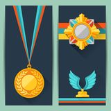 Certificate templates with trophies and awards Royalty Free Stock Photos