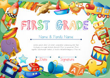 Certificate with toys in background Royalty Free Stock Photo