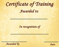 Certificate of training Stock Photo