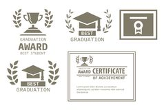 Certificate, trophy cup and laurel flat icons on white backgroun Royalty Free Stock Image