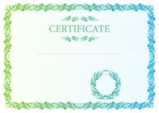Certificate. Vector pattern currency and diplomas Stock Photography