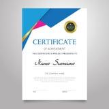 Certificate - vertical elegant vector document. Certificate - modern vertical elegant vector document with luxury design. Diploma of achievement, appreciation Stock Photos