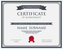 Certificate with wax seal template. Vector illustration Royalty Free Stock Photography