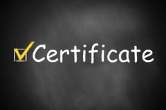 Certificate written on a chalkboard checkbox Stock Images