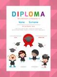 Certificatenkleuterschool en elementair, Peuter het certificaat van het Achtergrond jonge geitjesdiploma ontwerpmalplaatje Royalty-vrije Illustratie