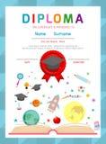 Certificatenkleuterschool en elementair, Peuter het certificaat van het Achtergrond jonge geitjesdiploma ontwerpmalplaatje Royalty-vrije Stock Afbeeldingen