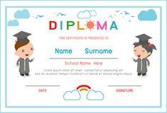 Certificatenkleuterschool en elementair, Peuter het certificaat van het Achtergrond jonge geitjesdiploma ontwerpmalplaatje, Diplo Royalty-vrije Stock Foto