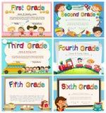 Certificates for children in primary school. Illustration Stock Images