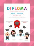 Certificates kindergarten and elementary, Preschool Kids Diploma certificate background design template. Certificates kindergarten and elementary, Preschool royalty free illustration