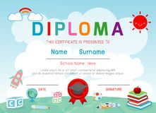 Certificates kindergarten and elementary, Preschool Kids Diploma certificate background design template. Certificates kindergarten and elementary, Preschool vector illustration